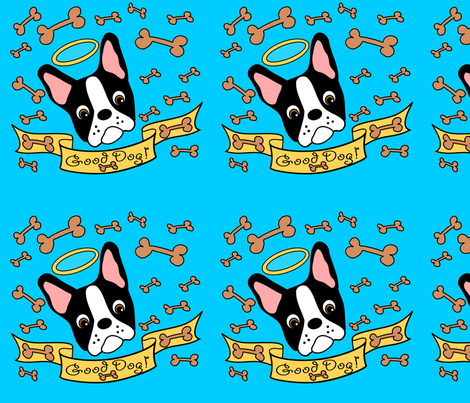 Good Dog Boston Terrier  Treat Pouch fabric by missyq on Spoonflower - custom fabric