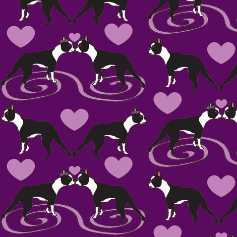 Kissing Bostons in Purple  fabric by missyq on Spoonflower - custom fabric