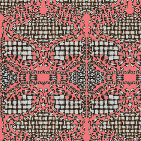zentangle salmonpink fabric by vinkeli on Spoonflower - custom fabric