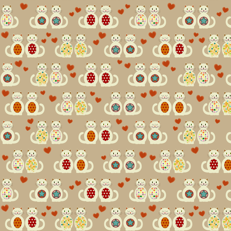 teeny loved up kitties fabric by scrummy on Spoonflower - custom fabric