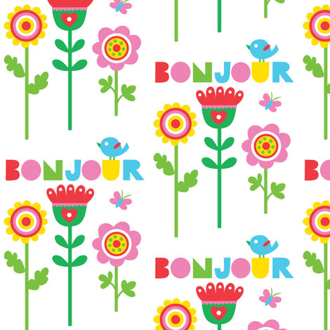 Bonjour fabric design fabric by andibird on Spoonflower - custom fabric