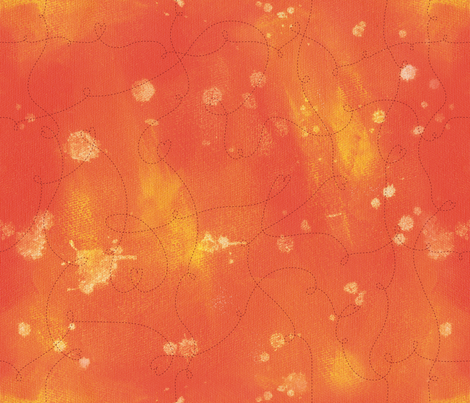 Summer of Love- Stitchy Orange Crush fabric by cynthiafrenette on Spoonflower - custom fabric