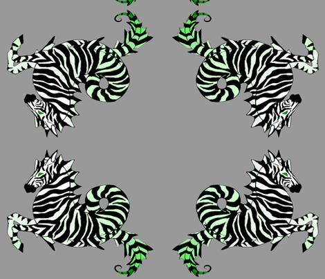 Green Zebra Sea Horse fabric by beesocks on Spoonflower - custom fabric