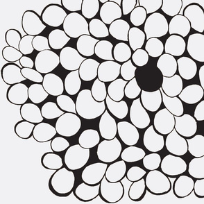 black and white circles flower