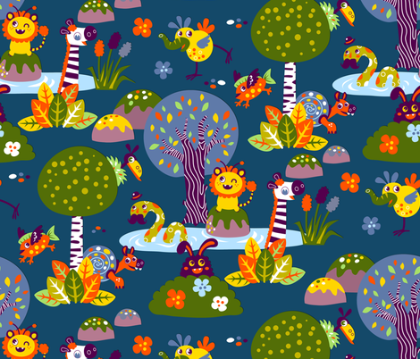 Fantasy friends (Please zoom in ^^) | blue fabric by irrimiri on Spoonflower - custom fabric