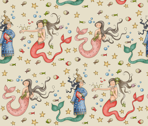 Mermaids fabric by catru on Spoonflower - custom fabric