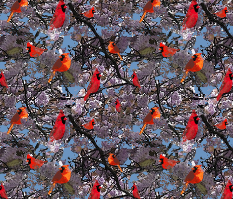 cardinals fabric by p_kok on Spoonflower - custom fabric