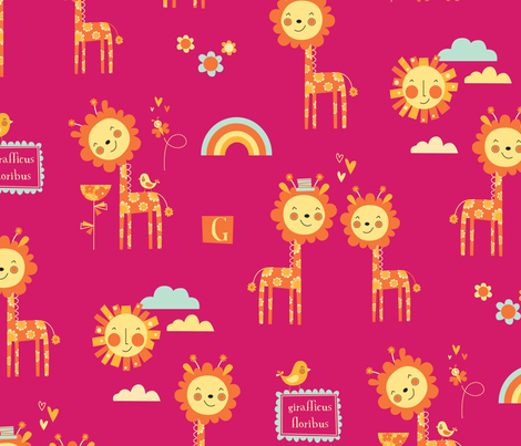 girafficus floribus fabric by amel24 on Spoonflower - custom fabric
