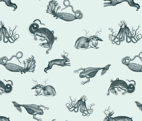 vintage ephemera zoo fabric by ravynka on Spoonflower - custom fabric