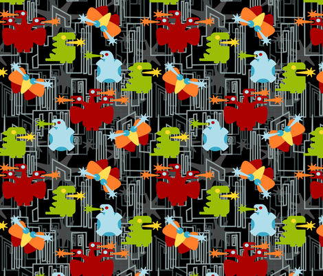Kaiju! on black fabric by thirdhalfstudios on Spoonflower - custom fabric