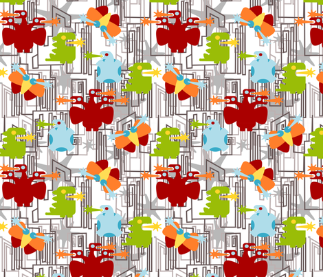 Kaiju! on white fabric by thirdhalfstudios on Spoonflower - custom fabric