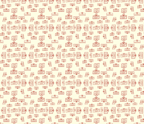 Derry City Streets_ small red and cream fabric by cherryandcinnamon on Spoonflower - custom fabric