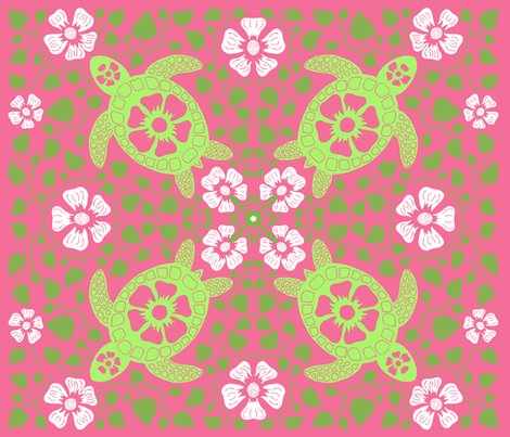 Rrrrrhawaiian_quilt_v10_white_flowers_on_turtle_rectangle_greens_and_pink2.ai_shop_preview