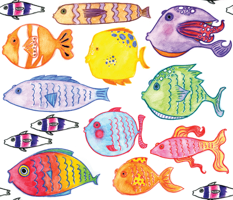 Watercolor Fishies fabric by marleyungaro on Spoonflower - custom fabric