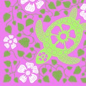 Rrrrhawaiian_quilt_v10_white_flowers_on_turtle_rectangle_greens_and_pink.ai_shop_thumb