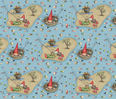 Gnomy fishing fabric by catru on Spoonflower - custom fabric