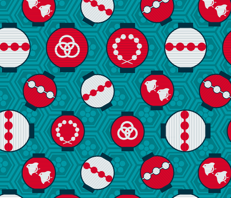 Kyoto Lanterns fabric by nekineko on Spoonflower - custom fabric