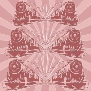 Steam Train Art Deco Fabric