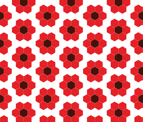 Poppy Flower Garden Cheater fabric by laurawilson on Spoonflower - custom fabric