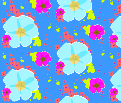In Full Bloom - Blue  fabric by lottiefrank on Spoonflower - custom fabric