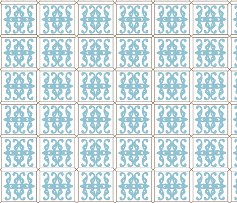 Blue Fretwork fabric by interiordesignmusings on Spoonflower - custom fabric