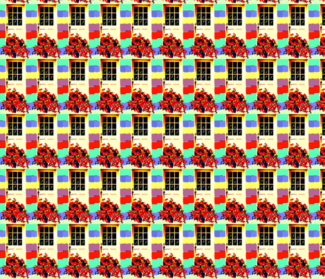 Geraniums at My Cottage Door fabric by robin_rice on Spoonflower - custom fabric