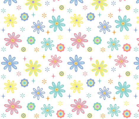 Happy Flowers fabric by andibird on Spoonflower - custom fabric