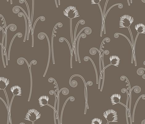 Dark Grey Fern fabric by kayajoy on Spoonflower - custom fabric