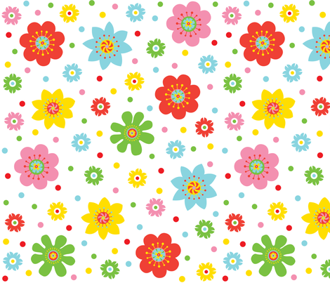 Cheerful Flowers fabric by andibird on Spoonflower - custom fabric