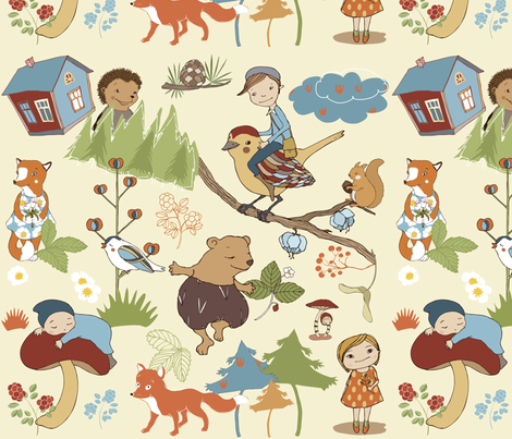 scandinavian fairytale forest fabric by peikonpoika{by}brunou on Spoonflower - custom fabric