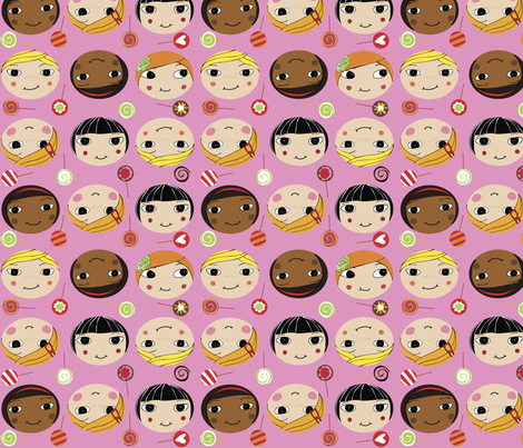 molla-girls pink fabric by peikonpoika on Spoonflower - custom fabric