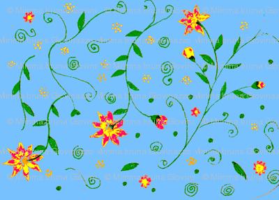 blue garden red flowers