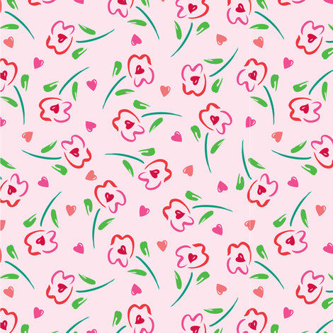 Hearts in Flowers fabric by andibird on Spoonflower - custom fabric