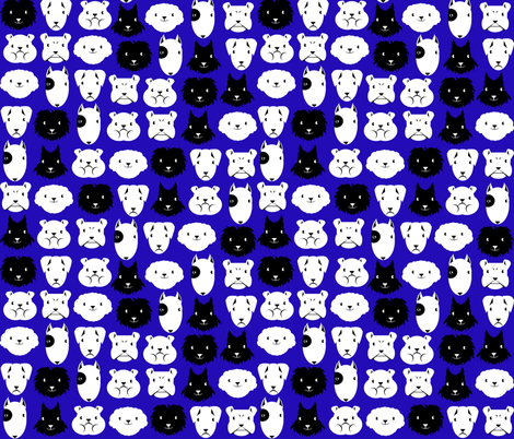chiens en lignes fond bleu fabric by kobaitchi on Spoonflower - custom fabric