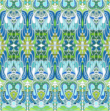 Homage to the 1920's in blue fabric by edsel2084 on Spoonflower - custom fabric