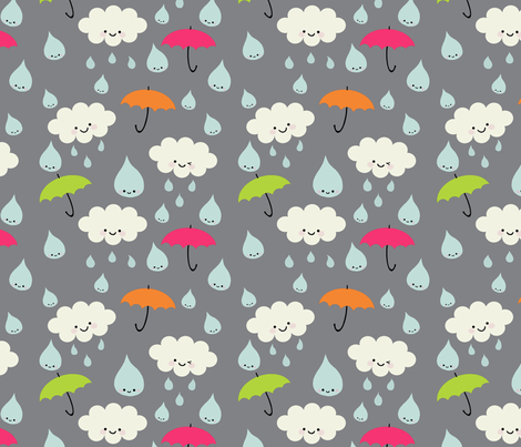 Rain - background lightened so handle shows up fabric by yellowkitty on Spoonflower - custom fabric