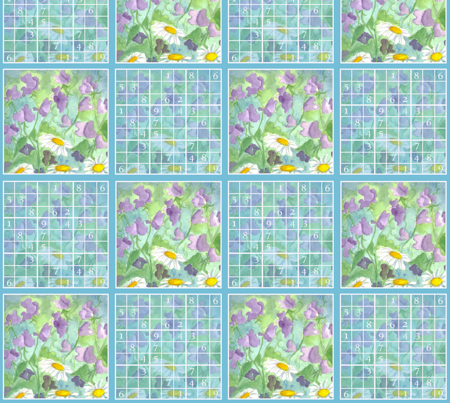 Sudoku Sweet Peas fabric by countrygarden on Spoonflower - custom fabric