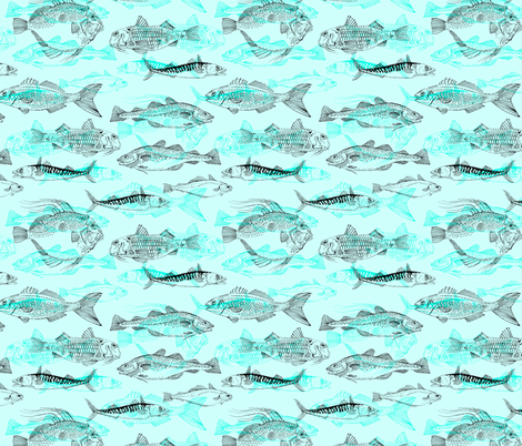 Aqua Fishes fabric by woodle_doo on Spoonflower - custom fabric