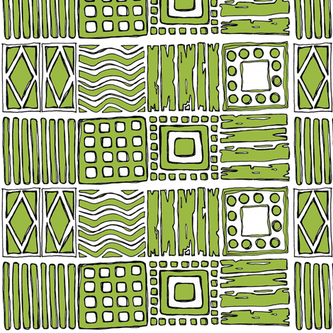 Tribal in Pea Green fabric by delsie on Spoonflower - custom fabric