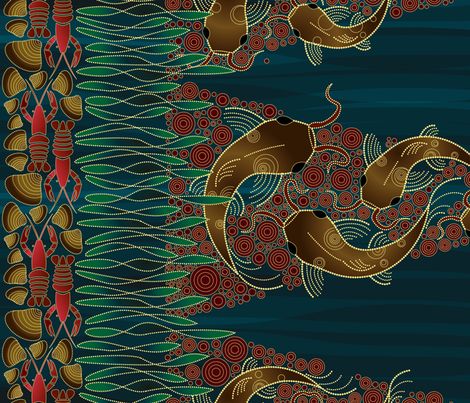 Catfish in the Stream fabric by ravenous on Spoonflower - custom fabric