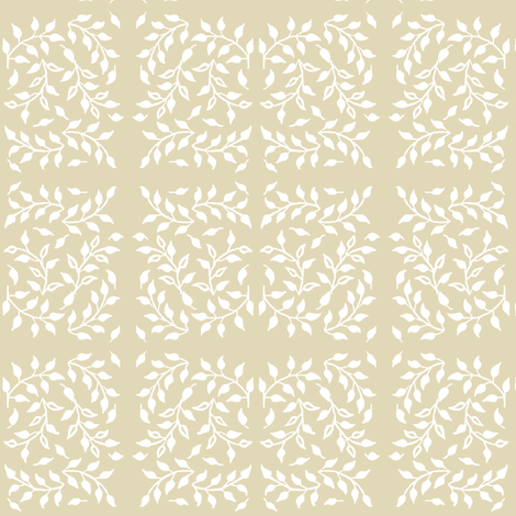 Leafy_field_white_SAND fabric by mina on Spoonflower - custom fabric