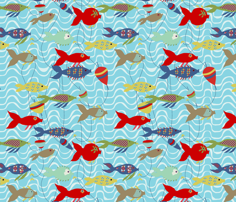 """A la pêche"" fabric by nadja_petremand on Spoonflower - custom fabric"