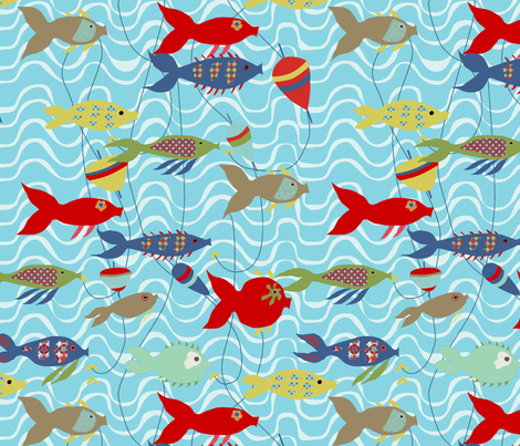 A  la  pêche L fabric by nadja_petremand on Spoonflower - custom fabric