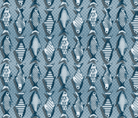 Metal fish blue fabric by cjldesigns on Spoonflower - custom fabric