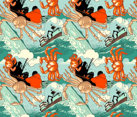 Crab fishing fabric by tinet on Spoonflower - custom fabric