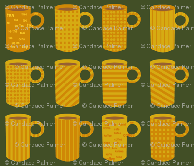 Orange and yellow tea and coffee mugs on green.