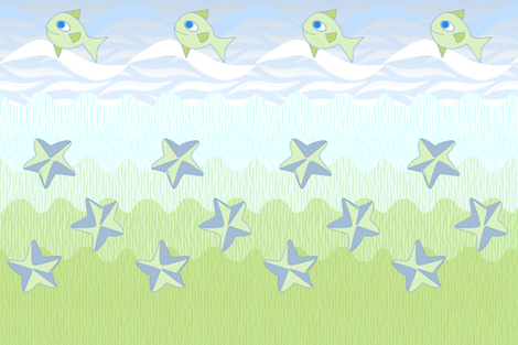 ©2011 Sealife Shower Curtain fabric by glimmericks on Spoonflower - custom fabric
