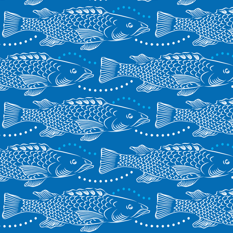 Northern Fish On Blue fabric by dianne_annelli on Spoonflower - custom fabric