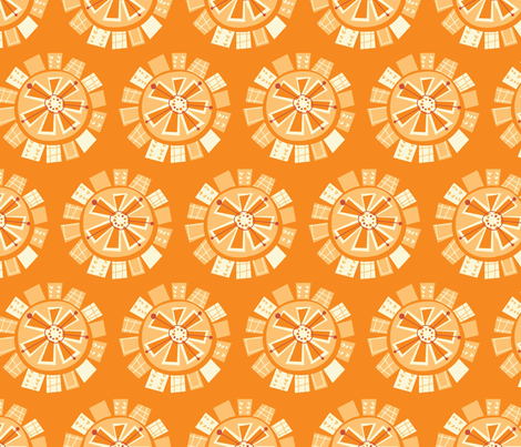 mod floral orange fabric by amel24 on Spoonflower - custom fabric