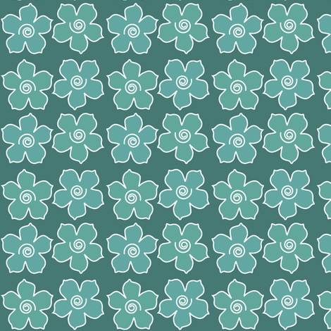 4metal_flowers_field_BLUEGREENS-175_CHEVREUL-sm fabric by mina on Spoonflower - custom fabric